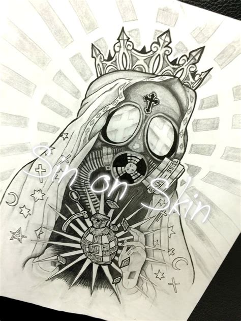 large tattoo designs custom design grenade gas mask religious large