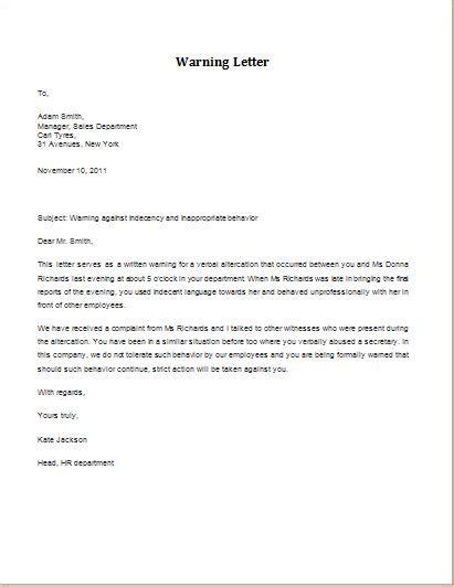 verbal altercation warning letter httpwww
