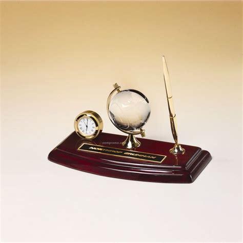 desk clock pen set rosewood desk set with pen crystal globe and clock 8 625