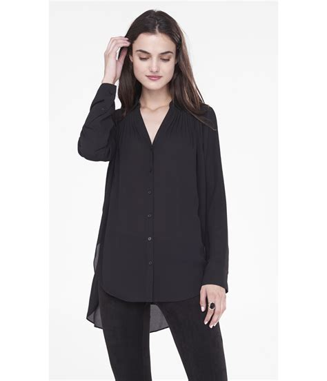Blouse Tunik lyst express sleeve pleated tunic blouse in black