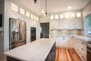 Dark Shaker Kitchen Cabinets by Ice White Shaker With Downtown Dark Cabinets In Dublin Ohio