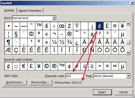 Microsoft Keyboard Cents Symbols