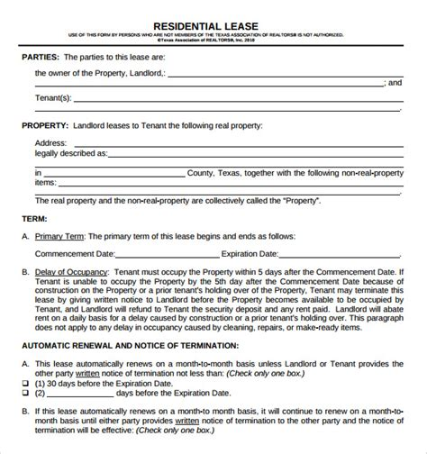 housing lease template residential lease agreement 8 free sles exles