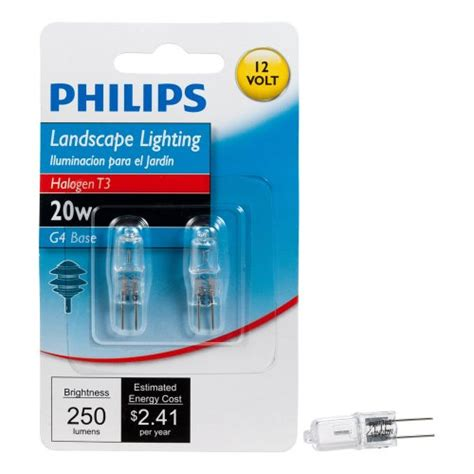 Philips Landscape Light Bulbs Philips 417204 Landscape Lighting 20 Watt T3 12 Volt Bi Pin Base Light Bulb 2 Pack 046677417208