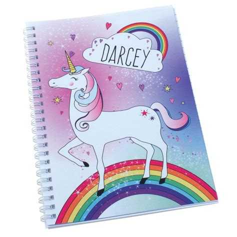 Unicorn A5 Notebook personalised unicorn a5 notebook named notebooks