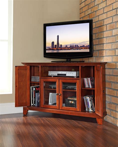 corner media cabinets flat screen tvs furniture brown wooden curved media with glass