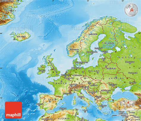 physical map europe physical map of europe