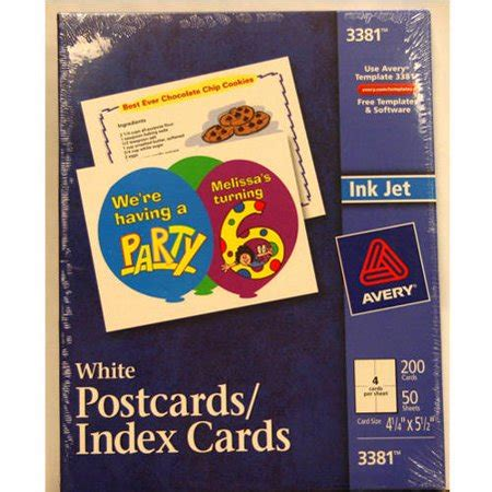 avery 5 x 8 cards template avery postcards index cards white 200 pack walmart