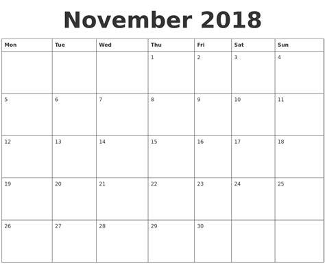 calendar template november november 2018 blank calendar template