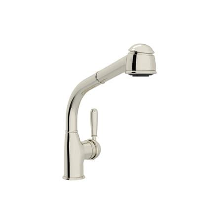 rohl r7903 country side lever pullout kitchen faucet rohl r7903lmpn polished nickel country kitchen faucet with