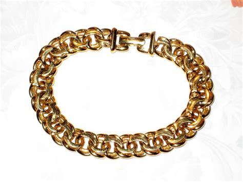 monet heavy gold tone chain bracelet sold on ruby