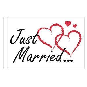 Spielzeug Auto Just Married by Autofahne Quot Just Married Quot Schwarze Schrift Rote Herzen
