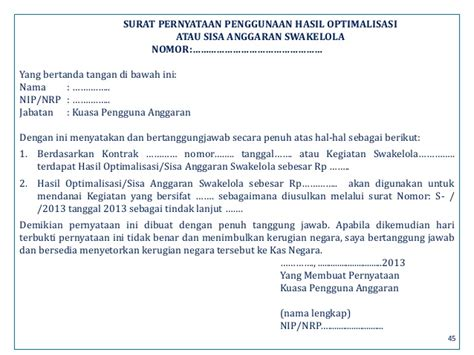 format surat pernyataan tanggungjawab pengguna anggaran peraturan revisi dipa 2013