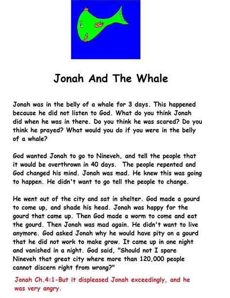 Jonah And The Whale Worksheets