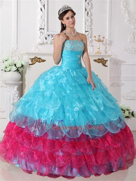 aqua color dress aqua blue and pink cascade skirt quinceanera dress