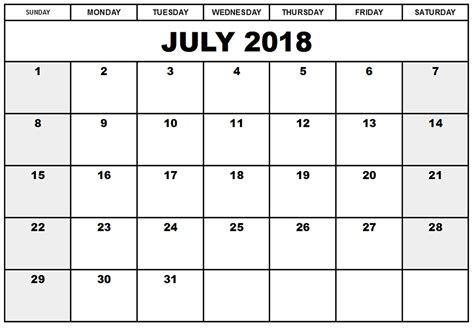 printable july schedule july 2018 printable calendar templates