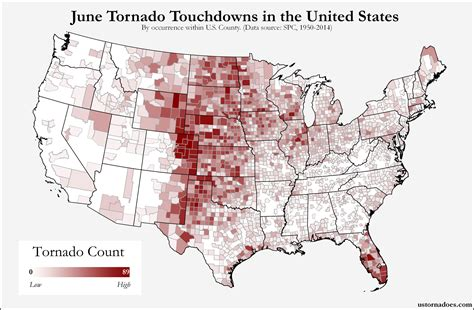 usa tornado map here s where tornadoes typically form in june across the