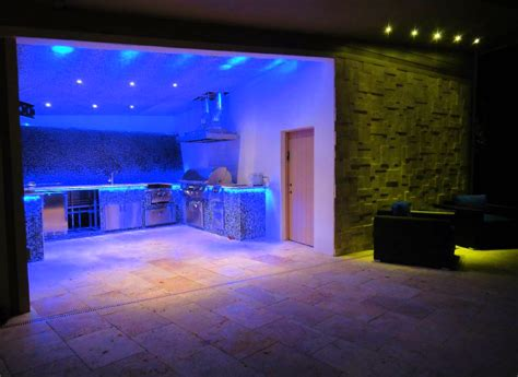 Led Lighting Ideas For Living Room Awesome Blue Led Light Kitchen Design Combined With Green