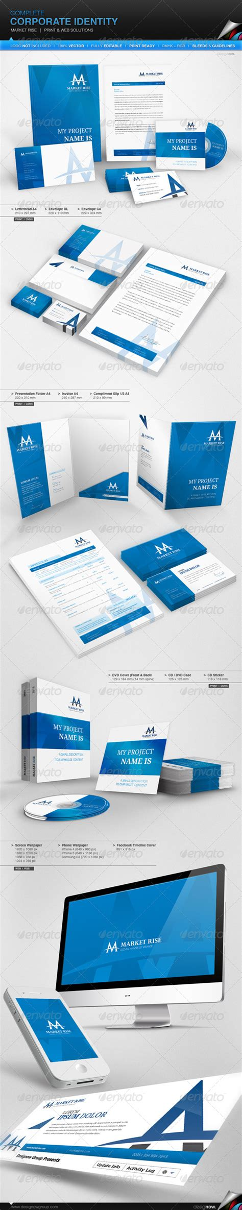 Marked Identity corporate identity market rise by magikpoink graphicriver