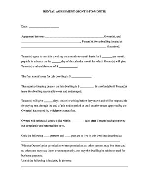 Rental Contract Template Forms Fillable Printable Sles For Pdf Word Pdffiller Fillable Rental Agreement Template