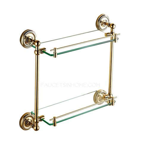 brass bathroom shelves golden brass glass shelves for bathroom