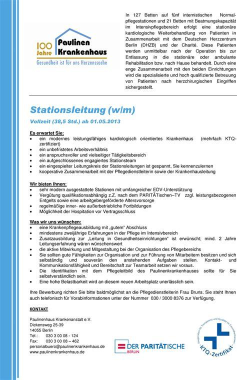 Bewerbungsschreiben Hospitation Krankenhaus Stellenangebot Stationsleitung W M In Berlin