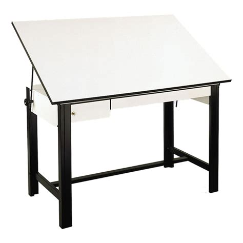 Drafting Table With Drawers Alvin Designmaster Steel Drafting Table W Drawers 37 1 2 Quot W X 60 Quot L At School Outfitters