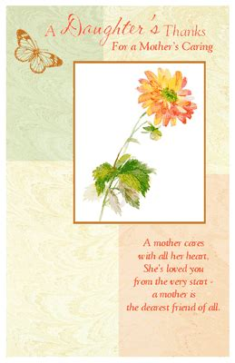 A Daughter's Thanks Greeting Card - Mother's Day Printable ... Loving Words For Husband
