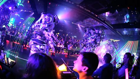 illuminations laser light show tokyo june 2014 robot restaurant people illuminated