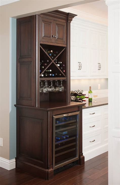 liquor cabinet with wine fridge what type of cabinet surface will a wine cooler fit in