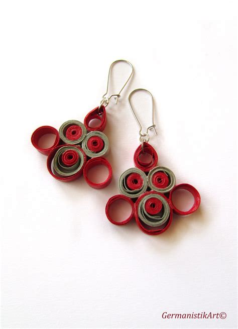 Earrings With Paper - grey paper quilling earrings quilled paper earrings