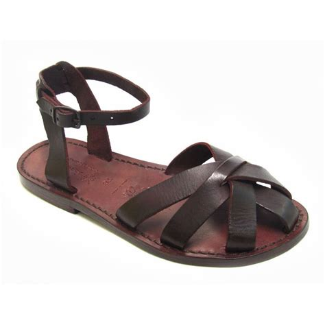 italian leather sandals womens handmade brown flat sandals for real italian