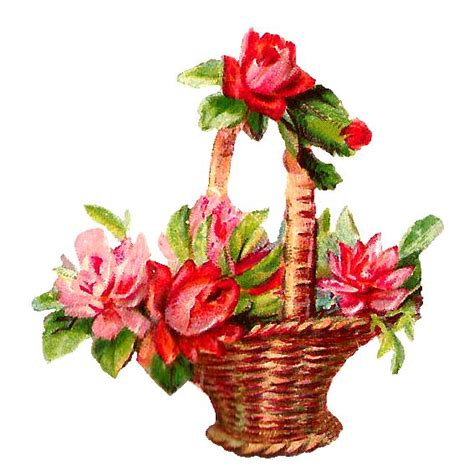 printable basket with flowers red flowers basket clipart png png 567 215 570 printable