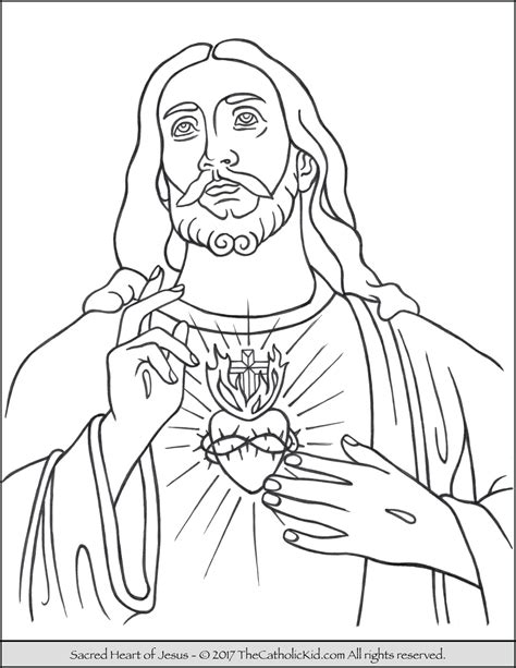 sacred heart of jesus coloring page thecatholickid com