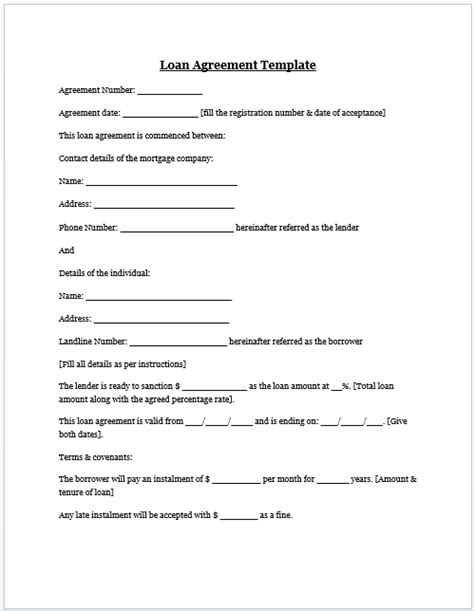 lending contract template free printable personal loan agreement form generic
