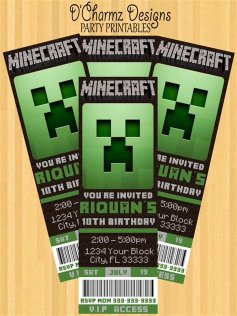 minecraft party invitation ticket style