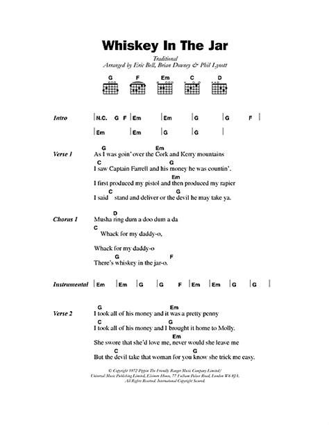 metallica whiskey in the jar lyrics whiskey in the jar sheet music by thin lizzy lyrics