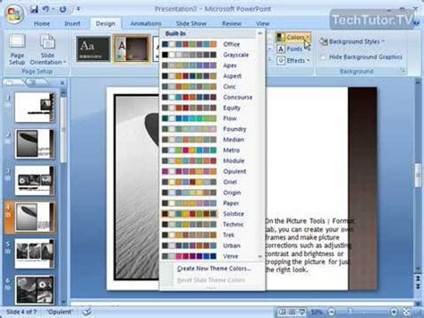 edit themes powerpoint 2007 change a theme s colors in powerpoint 2007 youtube