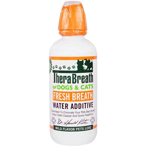 water additive for dogs therabreath fresh breath water additive for dogs and cats mild flavor 16 fl oz