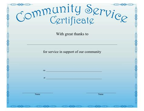 Certificates Download Free Business Letter Templates Forms Menus Certificates And More Community Service Certificate Template Free