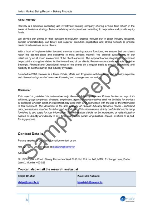 advisory report template sle report market size bakery products