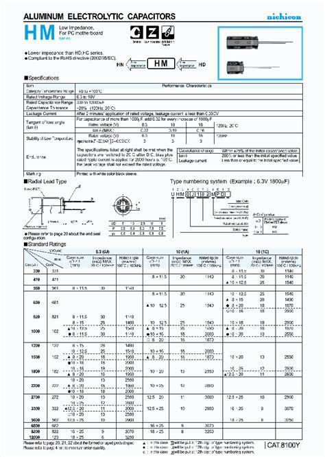 aluminium capacitor datasheet uhm1c272mhd 4271753 pdf datasheet ic on line