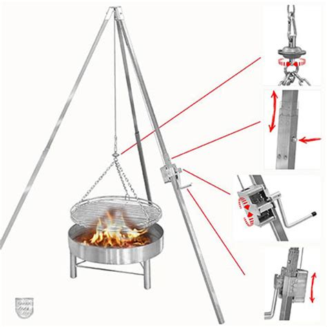 dreibein grill dreibeingrill und galgengrill aus edelstahl