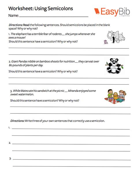 Colons And Semicolons Worksheet