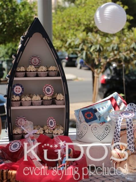 boat shelf for cupcakes sailor nautical baptism party ideas photo 7 of 34