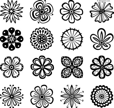 flower pattern design vector 4 designer 16 exquisite flower patterns vector material