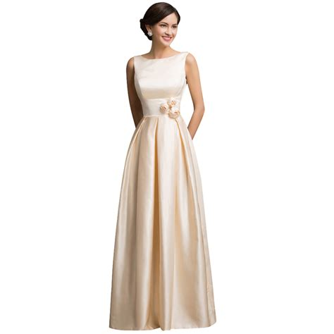 dinner dresses grace karin satin apricot formal evening