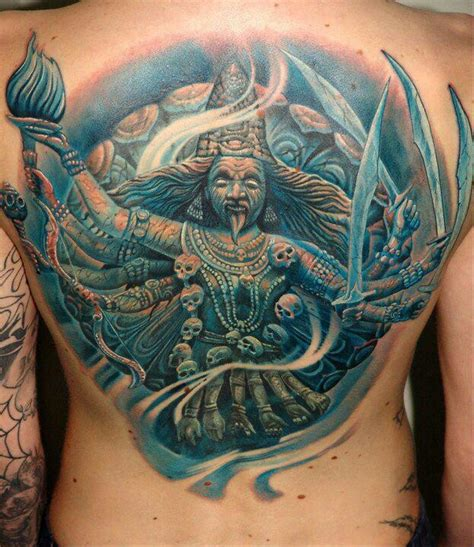 hindu god tattoos designs durga kali yuga realism back amazing use of blue