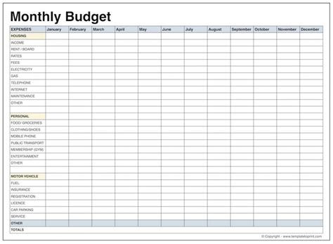 monthly personal budget template printable monthly budget templates beneficialholdings info