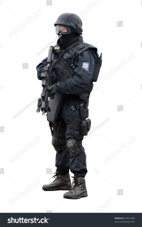 Swat White swat soldier on white background stock photo 18351580
